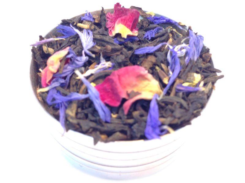 Herbata czarna Jesienne Marzenie (dodatki: płatki róży, bławatek, słonecznik)