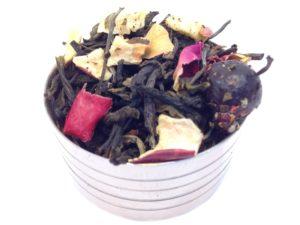 Herbata biała Cinema Paradiso (jabłko, liść maliny, płatki róży, truskawka, czarna porzeczka)