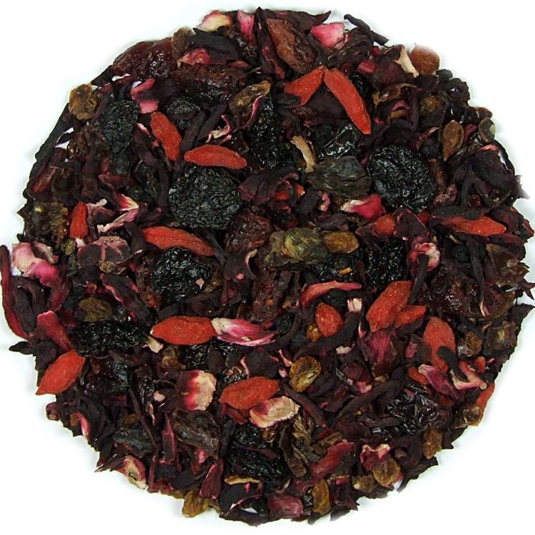 Herbata owocowa Łyk Szczęścia (róża, hibiskus, żurawina, rodzynki, owoc goji, czarny bez, wiśnia)