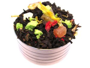 Herbata czarna Jesienna Aleja (dodatki: melon, goździki, jabłko, pomarańcza, cytryna, imbir, nagietek, papaja, kwiat granatu)