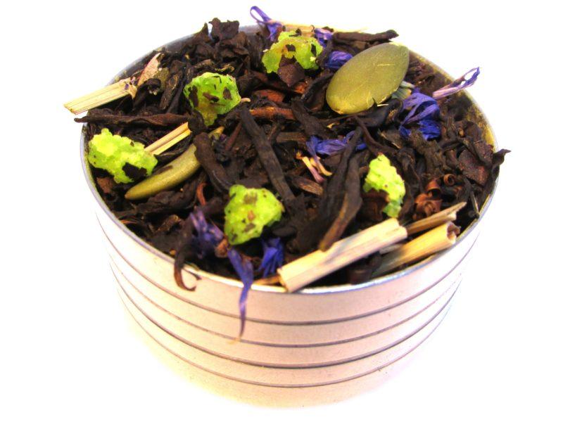 Herbata czarna Zimowy Wieczór (dodatki: cytryna, pestki dyni, trawa cytrynowa, liść maliny, bławatek)