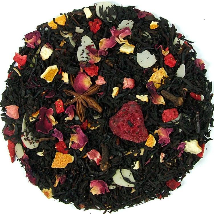 Herbata czarna Wigilijny Wieczór (dodatki: skórka pomarańczy, anyż, cynamon, goździki, migdały, płatki róży, truskawka, malina)