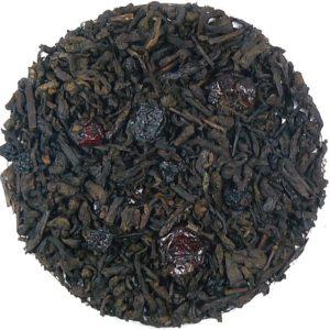 Herbata czerwona Pu-erh z żurawiną (dodatki: żurawina, liść maliny)