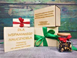 Zestaw prezentowy w drewnianym pudełku z grawerem