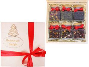 Sześć herbat lub kaw w drewnianym pudełku - prezent świąteczny