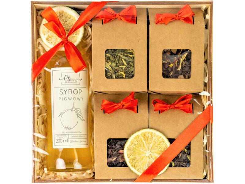 Kosz prezentowy: Cztery herbaty + syrop